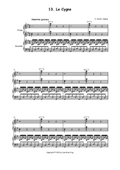 Le Cygne, arranged for Piano Duet